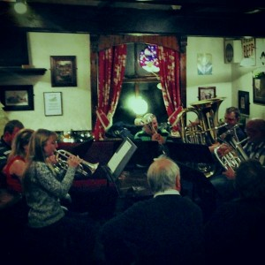 Gareth, on Tuba, with other band members playing at the Goyt.