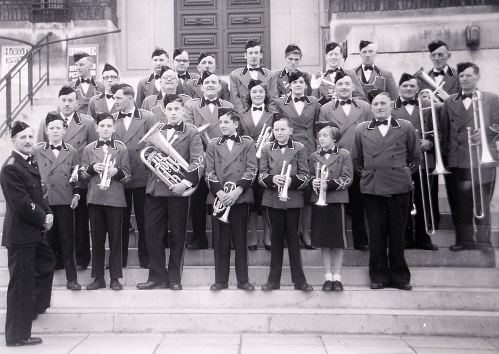 Whaley Bridge Band in the late fifties, Laurie is the middle one of the three young cornet players in the centre of the front row