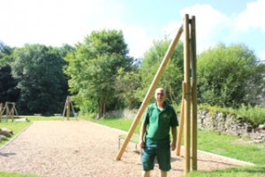 Park ranger Paul at the zip wire: the fire was at the platform, near where Paul is standing