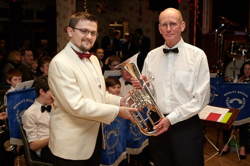 Ray Wild (right) and Matt Shaw (left), Musical Director of Whaley Bridge Band with the new Tenor Horn